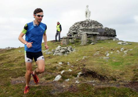 David Power on his way past the Virgin Mary in the Achill ROAR